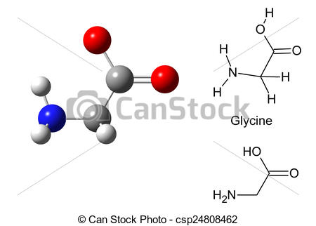 Stock Illustration of Structural model of glycine molecule on.