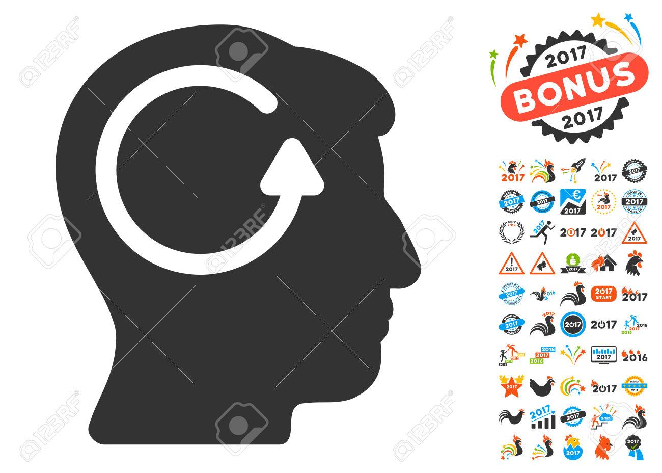 Refresh Head Memory Icon With Bonus 2017 New Year Clip Art. Glyph.