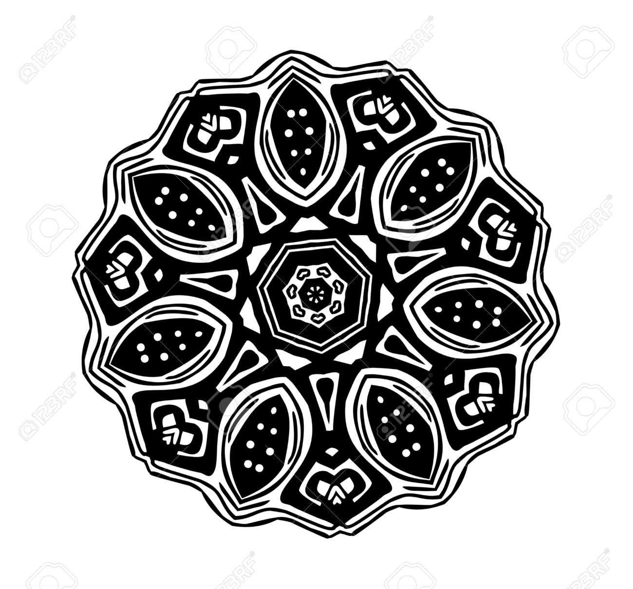 BLACK ROSE Clipart Illustration Of A Black And White Tribal Glyph.