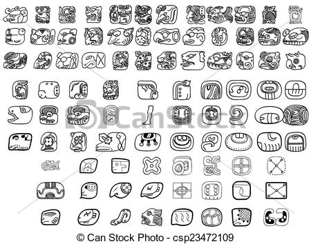 Vector Clipart of Big pack of maya glyphs csp23472109.