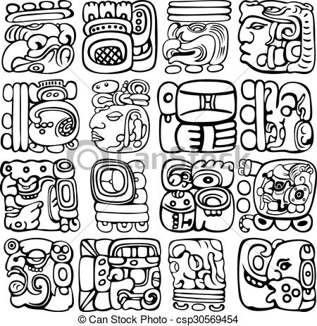 Clipart Vector of Mayan Glyphs.