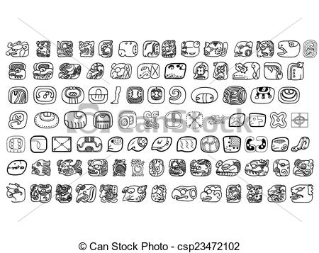 Vector Clipart of Big pack of maya glyphs csp23472102.
