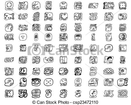 Vector Clip Art of Big pack of maya glyphs csp23472110.