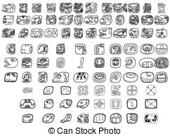 Vector Clip Art of aztec glyphs.