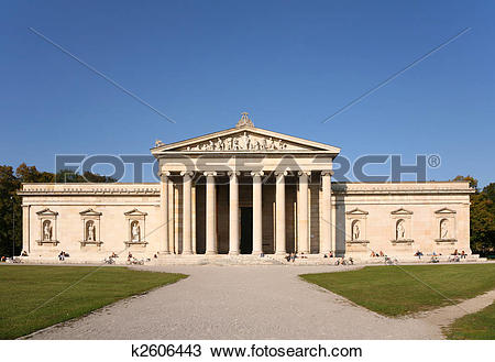 Stock Photo of Facade of house with columns. Glyptothek. Munich.