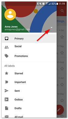 Setting up email in Gmail on Android.