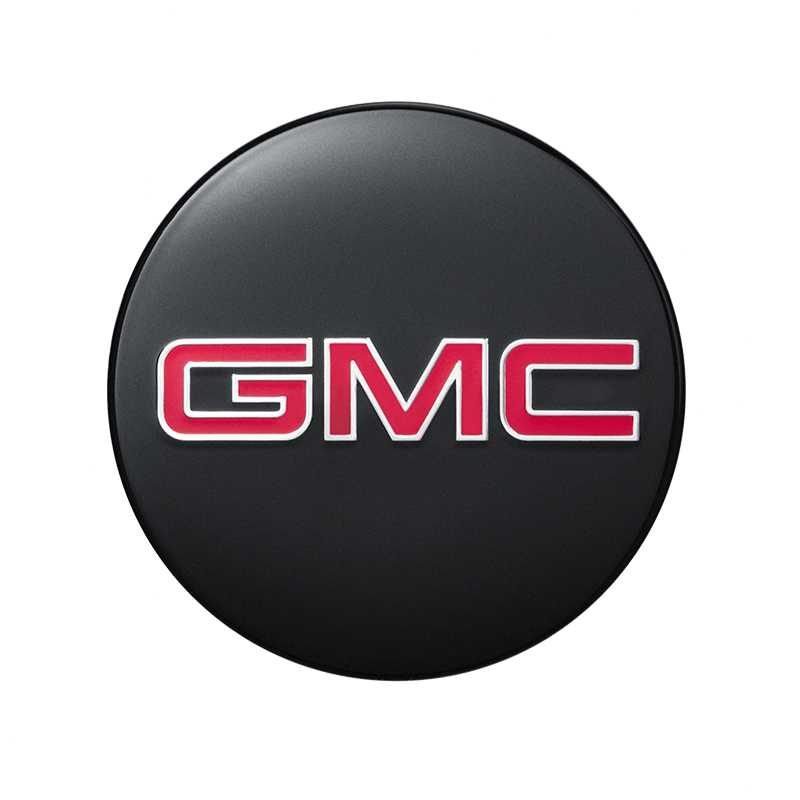 2018 Sierra 1500 Center Cap, Black with Red GMC Logo, Single.