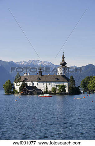 Picture of Austria, Gmunden,View of Ort castle and Traunsee Lake.