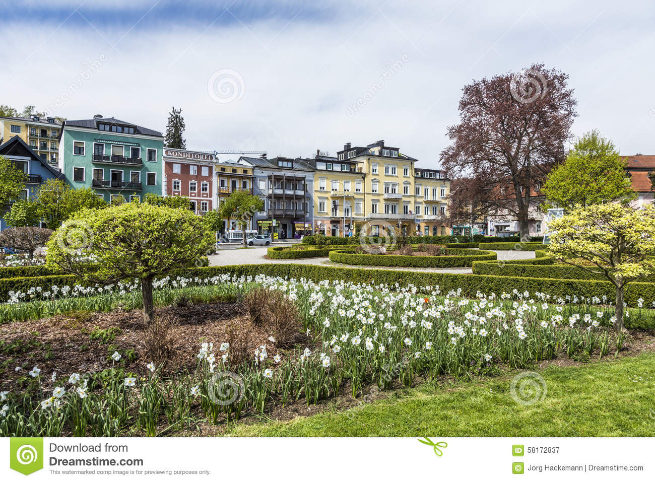 View Of Kurpark With Beautiful Historic Houses In Gmunden.