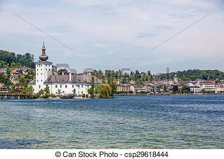 Stock Photo of Castle Ort, Gmunden, view from the jetty.