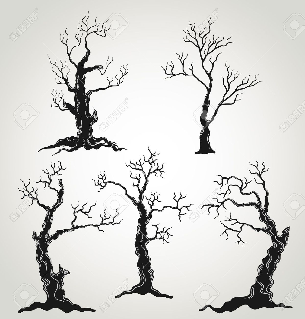 Halloween Gnarled Trees Silhouette Clipart.