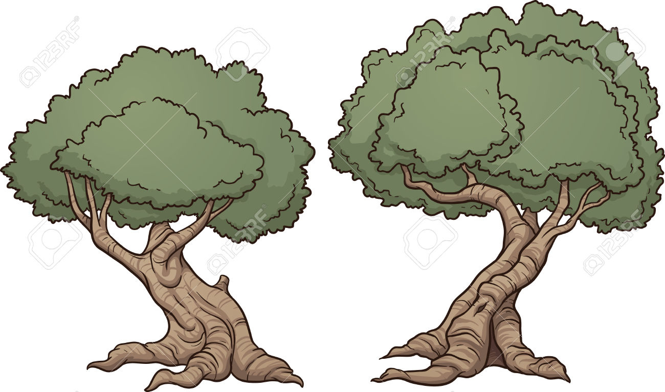 Gnarly Cartoon Trees Illustration Royalty Free Cliparts, Vectors.