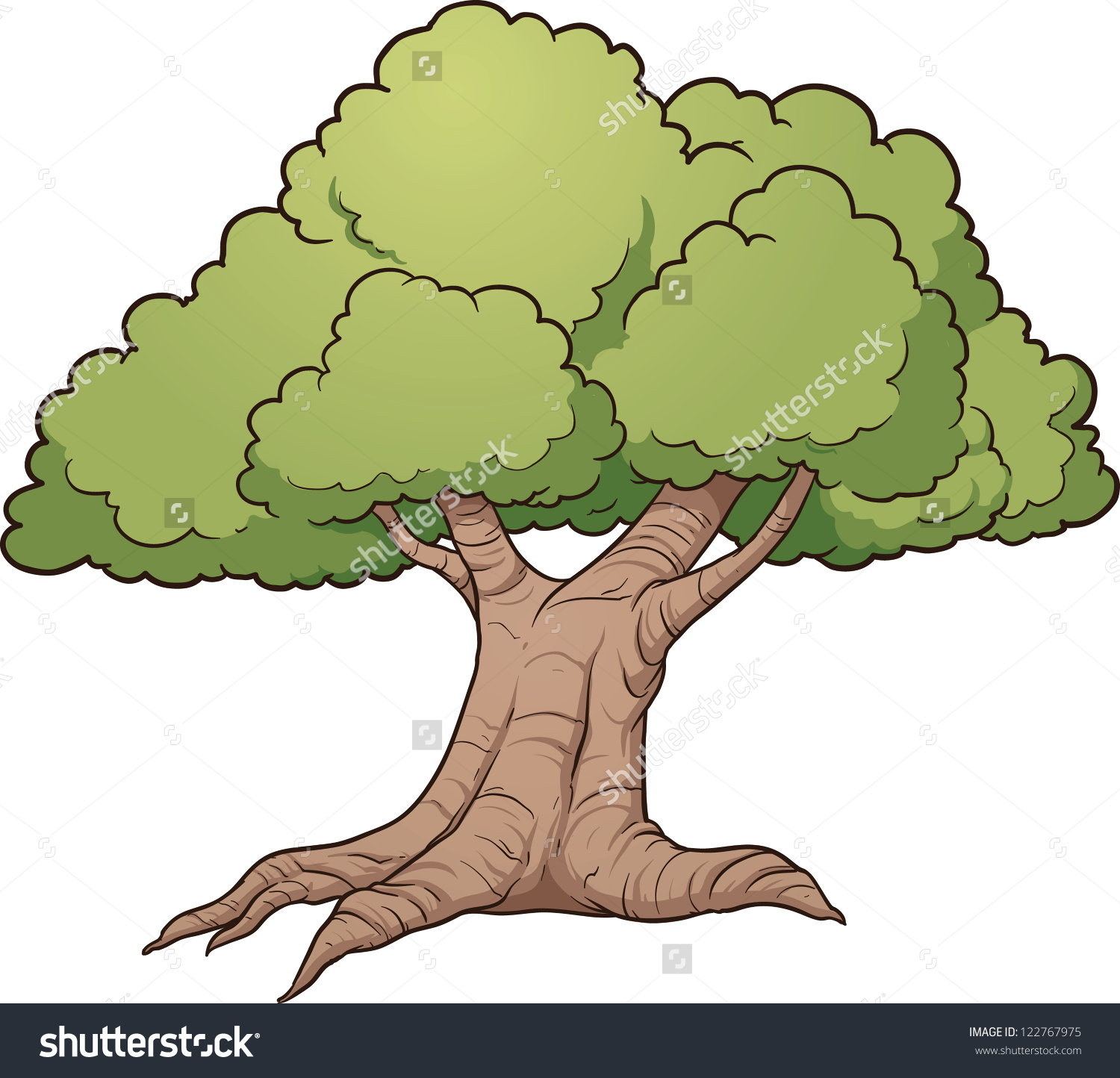 Cartoon Oak Tree Vector Clip Art Stock Vector 122767975.