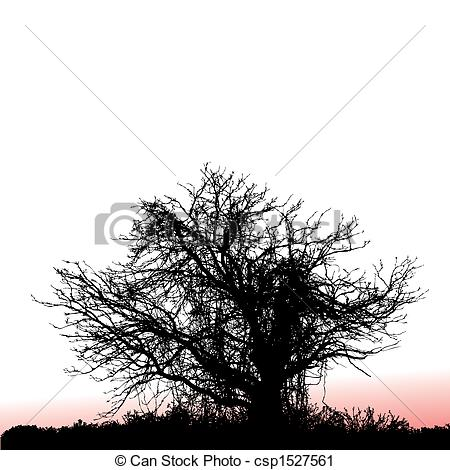 Vector Clip Art of tree seen at sunset.