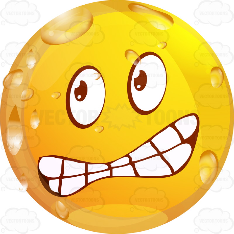 Furious, Angrywet Yellow Smiley Face Emoticon With Lowered Knitted.