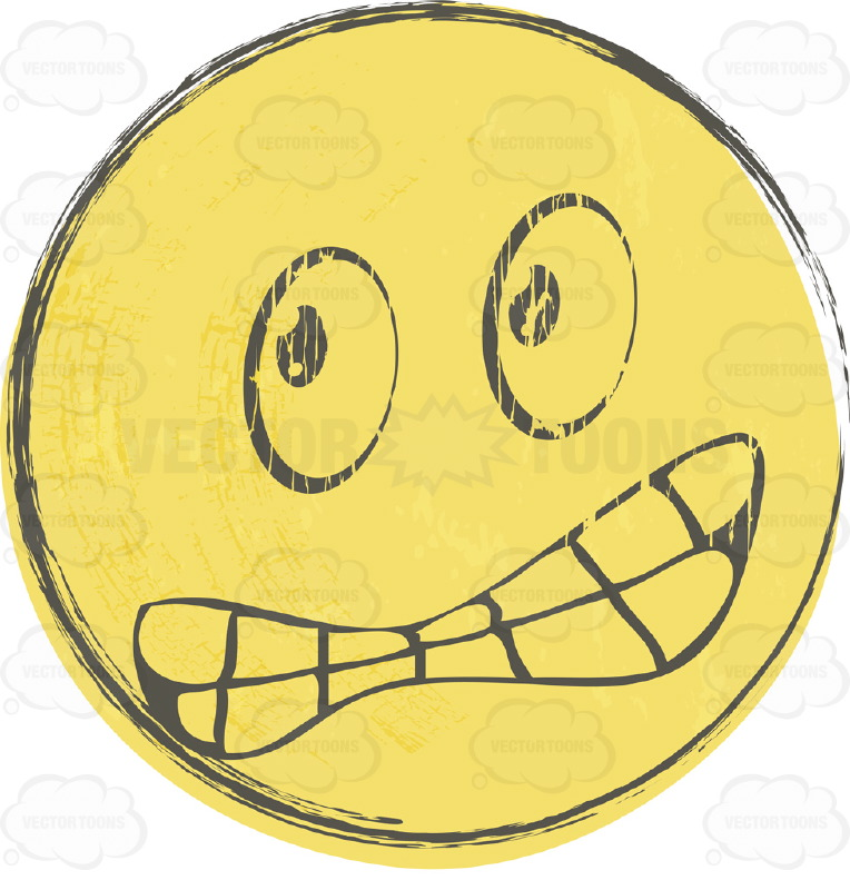Furious Rough Sketched Faded Yellow Smiley Face Emoticon Gnashing.