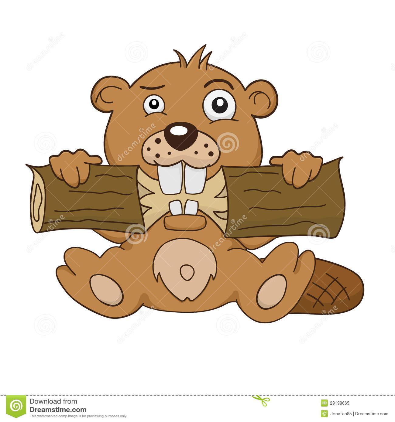 Cartoon Beaver Royalty Free Stock Photo.