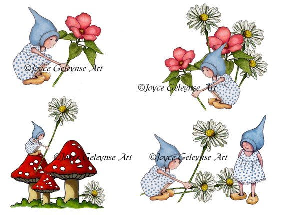 Gnomes Clipart, Hand Drawn Clipart, Commercial Use, Gnome.