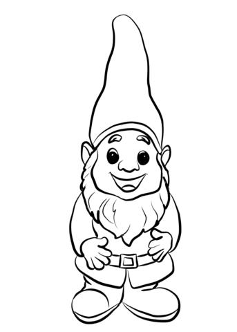 Cute Gnome coloring page.