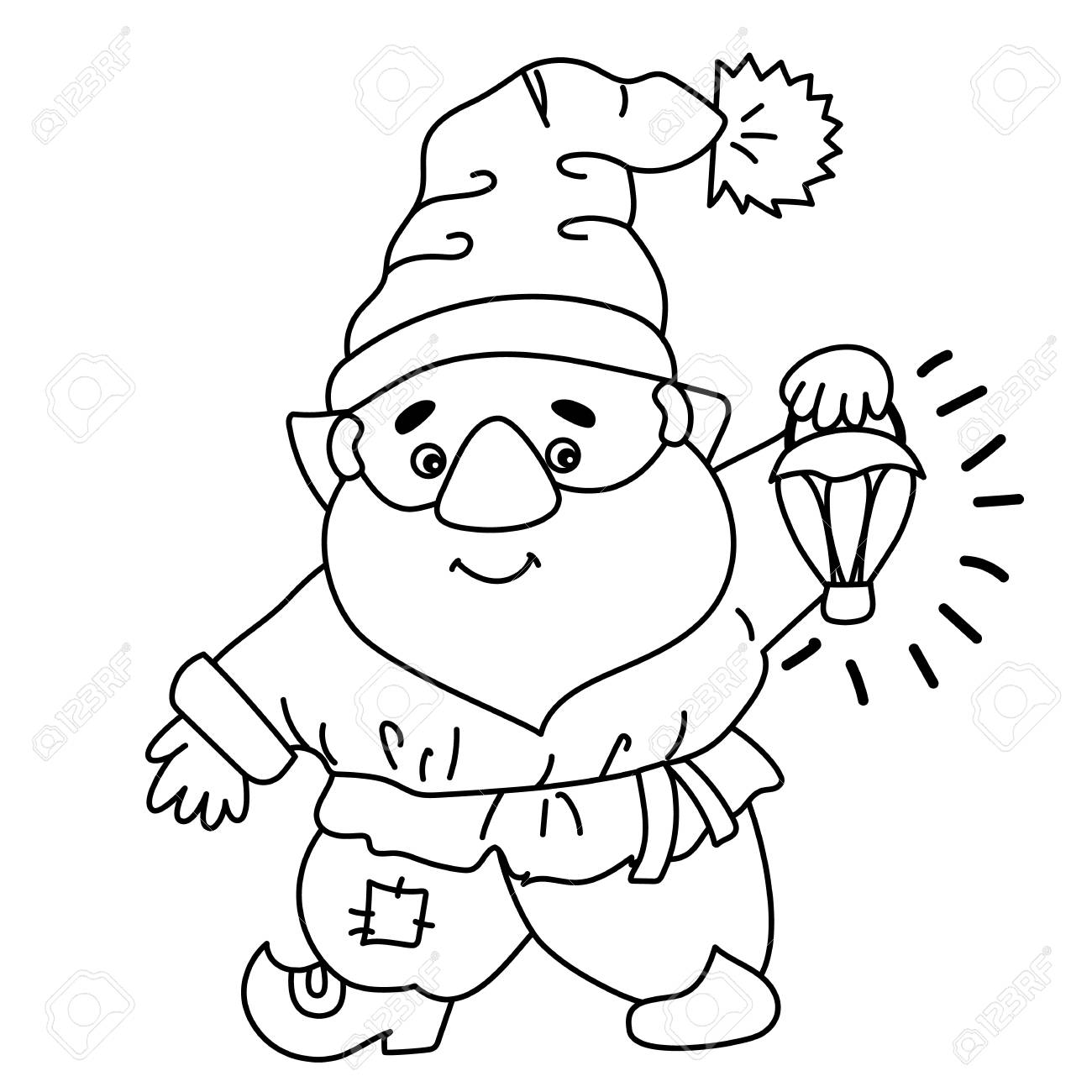 Black and white cute cartoon gnome..