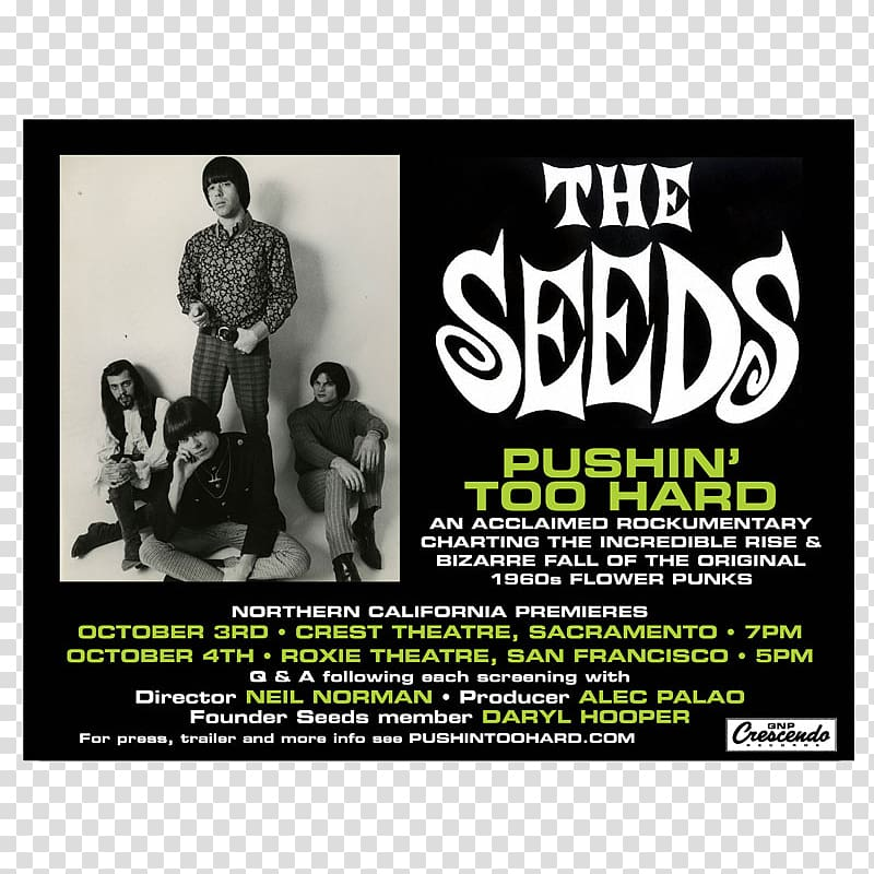 Poster The Seeds Flyer GNP Crescendo Record Co., Indie Fest.