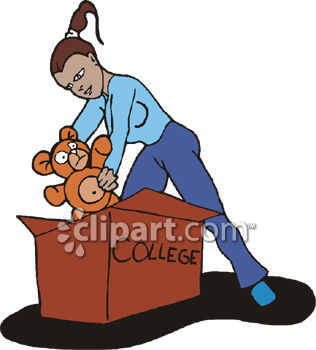 Royalty Free Clip Art Image: Young Woman Packing to Go Away to College.