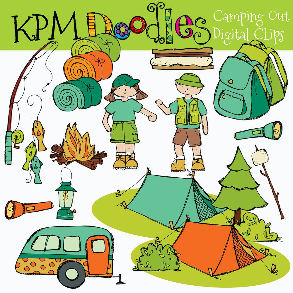 KPM Camping out digital clipart.