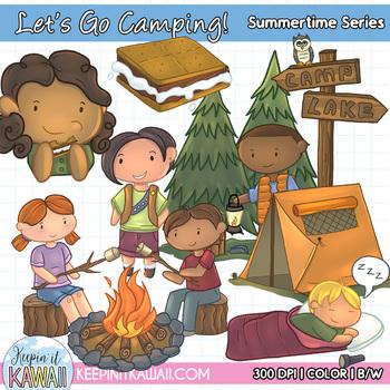 Let's Go Camping Clip Art Set.
