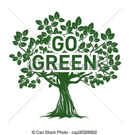 Tree and GO GREEN. Vector Illustration..