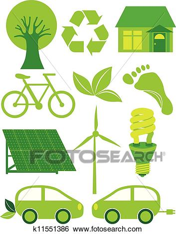 Go Green Eco Symbols Ilustration Clip Art.