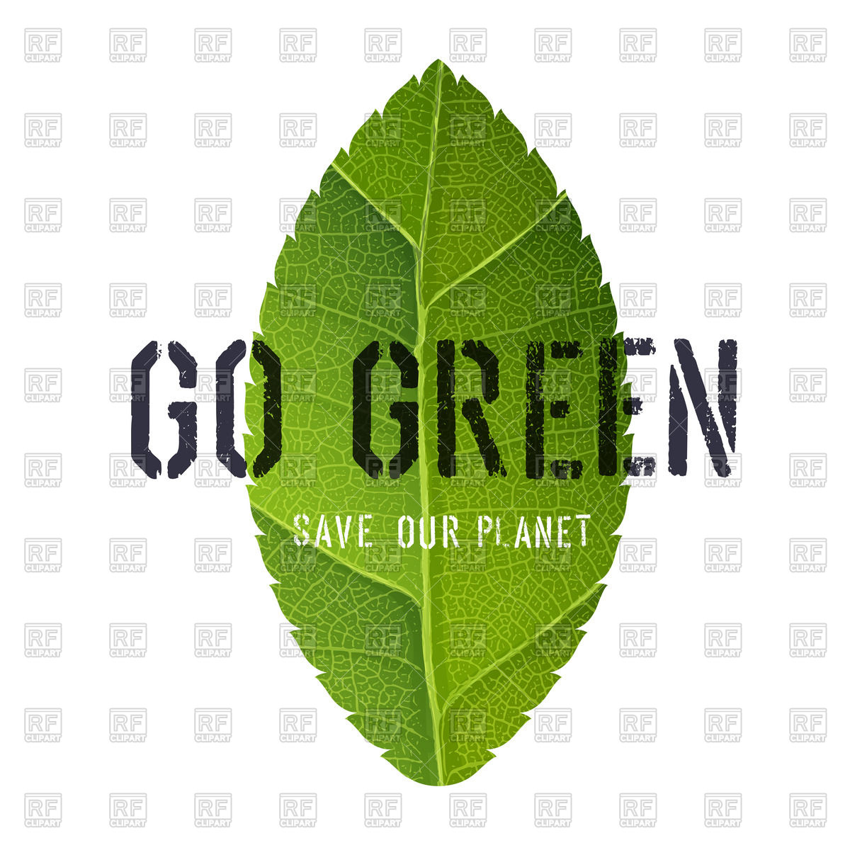 Go Green poster with leaf symbol Stock Vector Image.