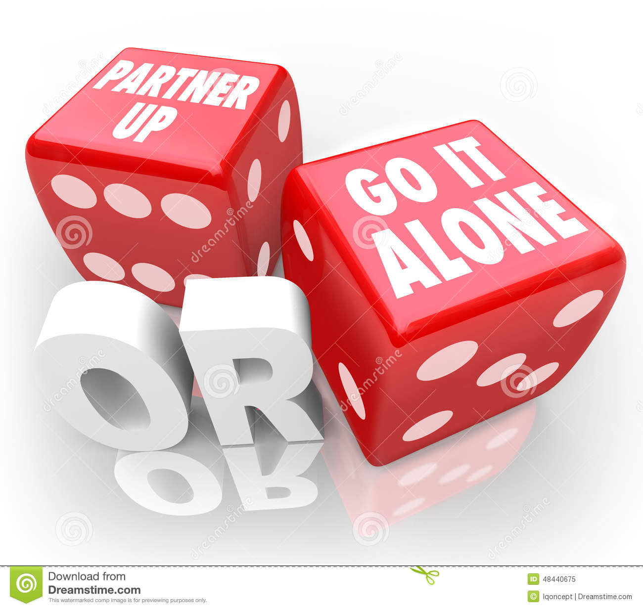 Partner Up Or Go It Alone Two Red Dice Choice Decision Stock.