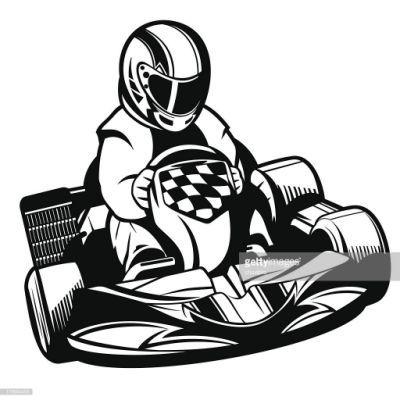 Course De Kart Bw Clipart vectoriel.