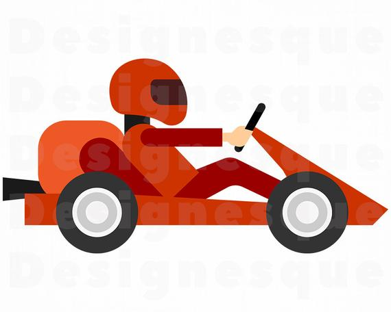 Go Kart Racing SVG, Go Kart SVG, Go Karting SVG, Go Kart Racing Clipart,  Cut Files For Silhouette, Files for Cricut, Dxf, Png, Eps, Vector.