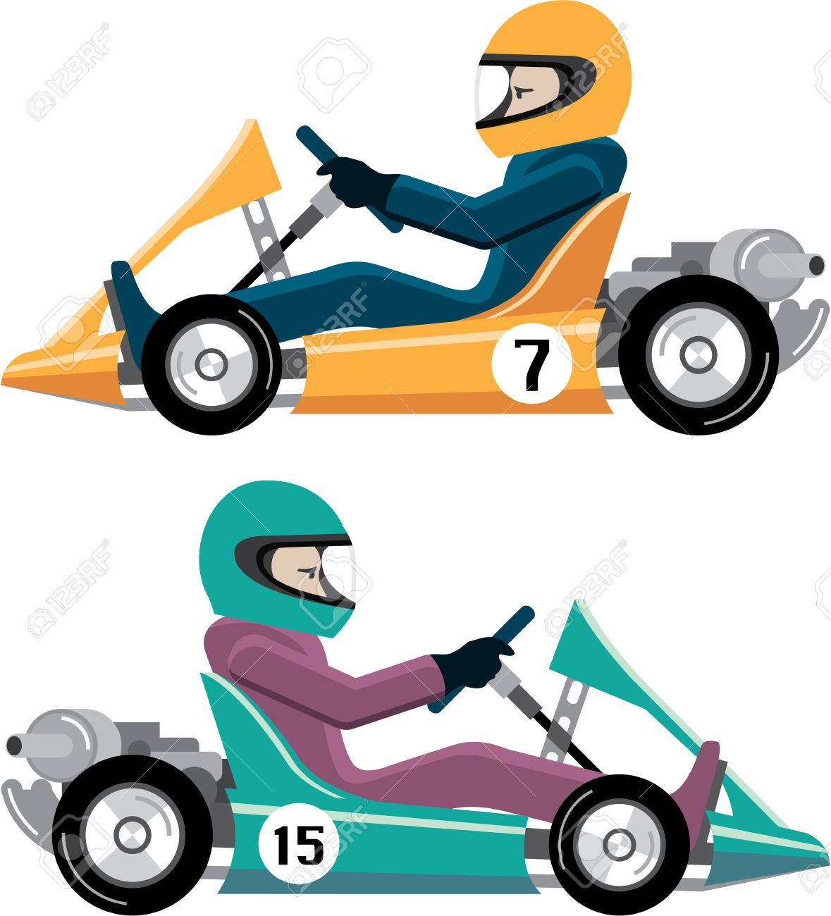 Karting Go Cart race vehicle with a driver illustration clip.