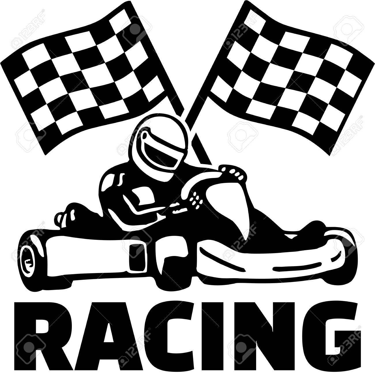 Goal flags and kart racing.