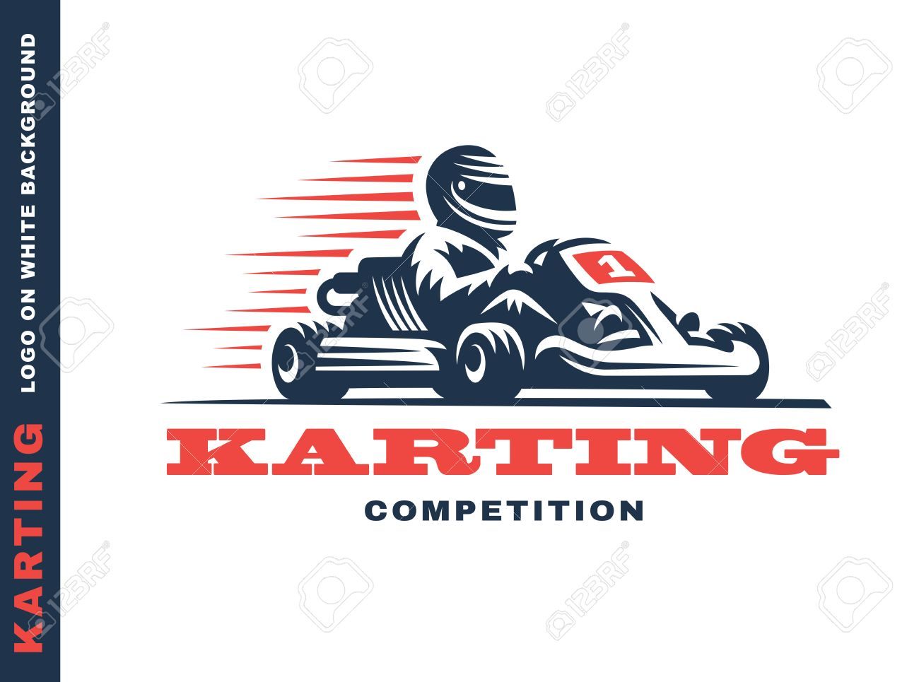 Kart racing winner, illustration on a white background.