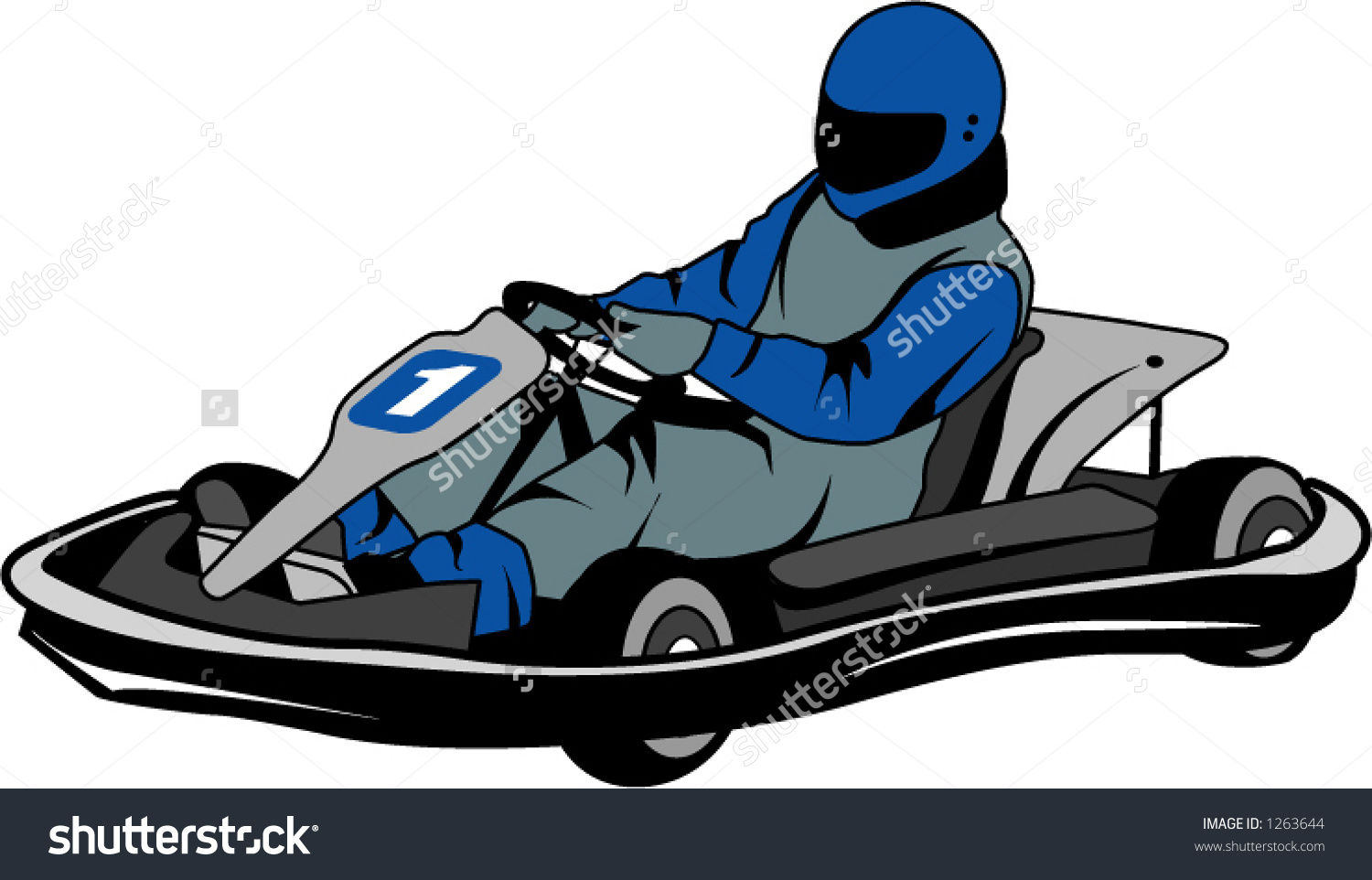 Man Racing Go Kart Stock Vector 1263644.