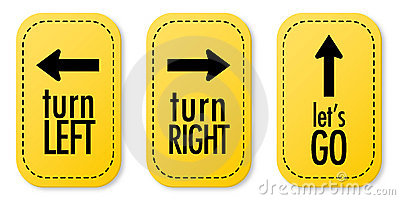Turn Left, Turn Right And Let's Go Stickers Stock Images.