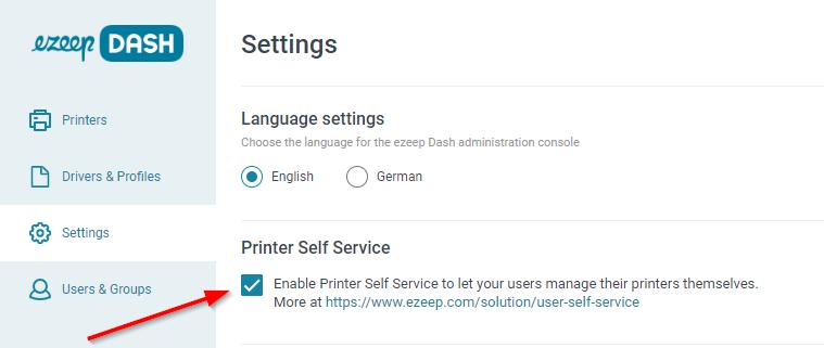 ezeep Dash: Configuring Printer Self Service.