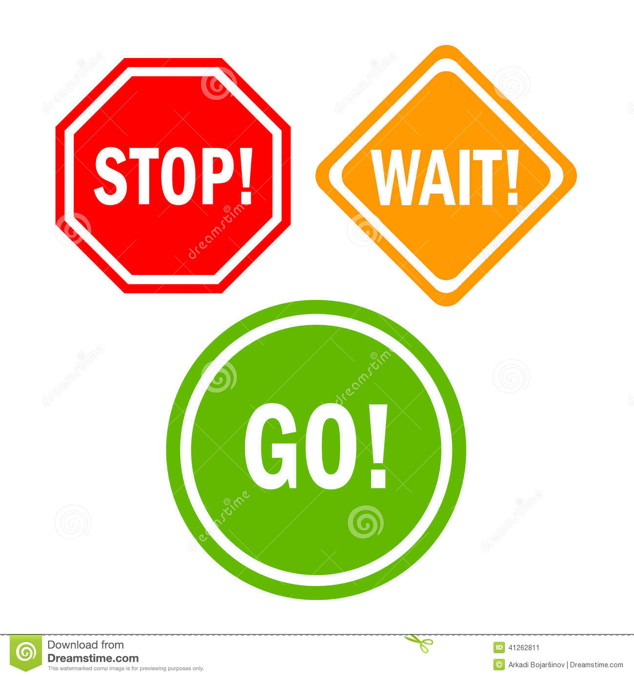 Stop And Go Signs Clipart.