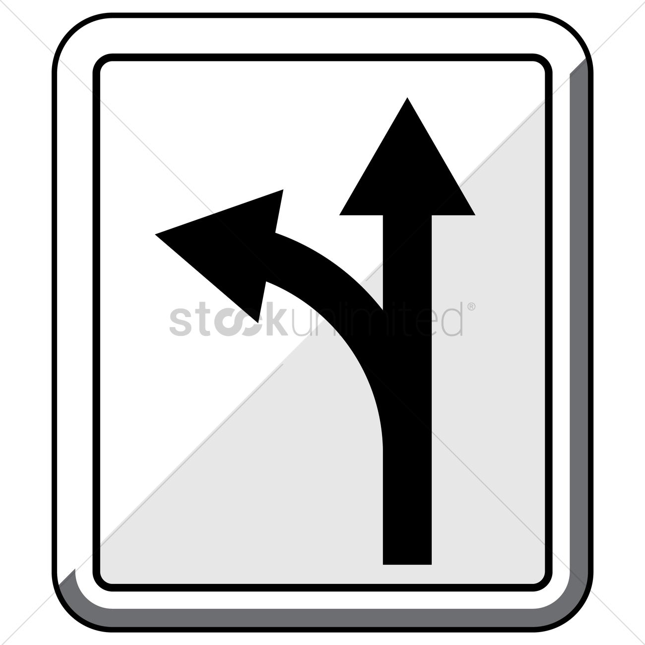 Turn left or go straight road sign Vector Image.
