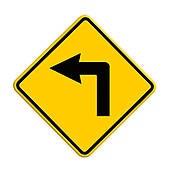 Stock Photo of Arrows go straight and turn left or turn right on.