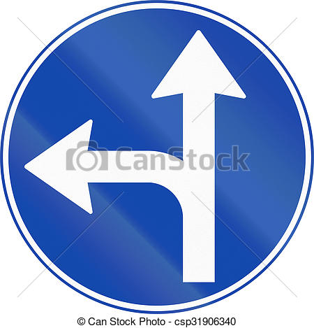 Stock Photo of Norwegian mandatory direction sign.