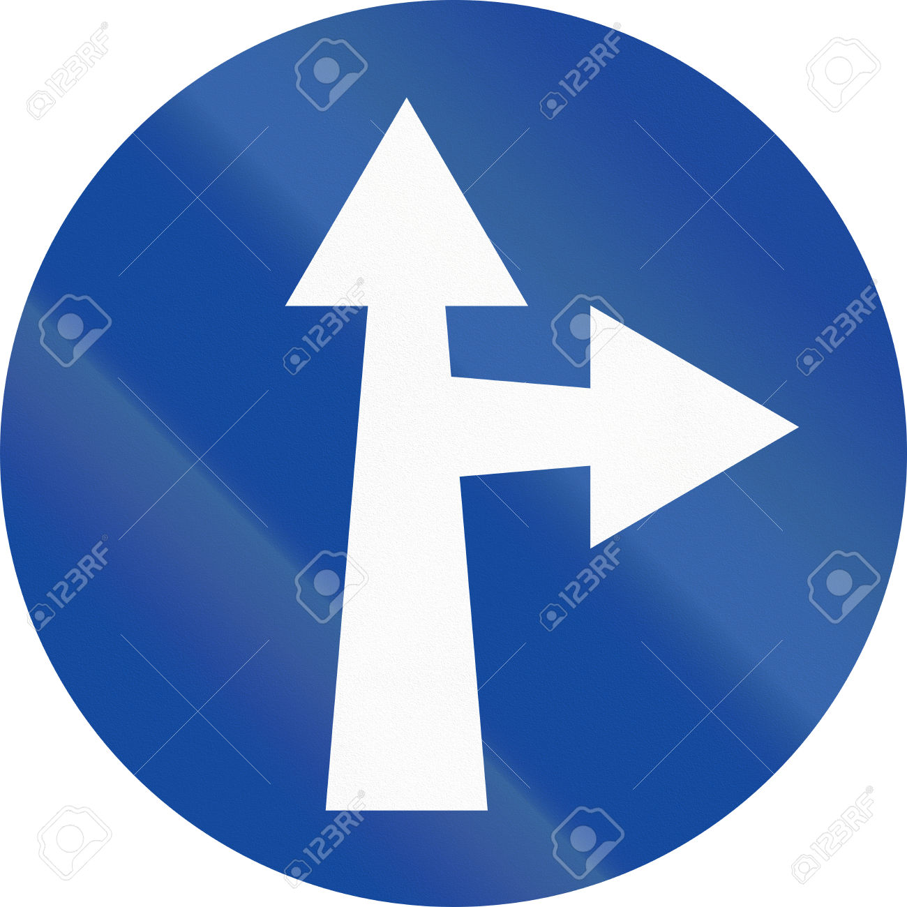 Greek Traffic Sign: Go Straight Or Right Stock Photo, Picture And.