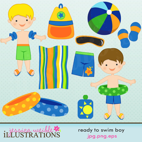 He's ready to go swimming! This cute summertime graphic set comes.