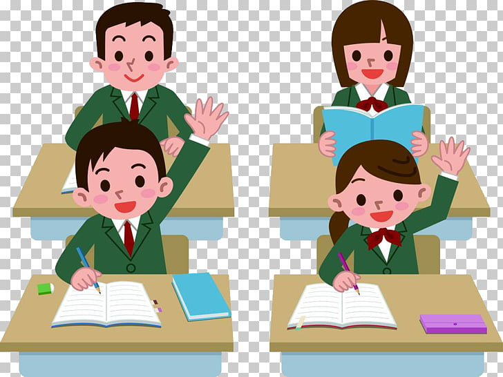 Student Class , Hands up students, students illustration PNG.