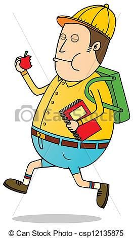 Vectors Illustration of happy student go to school csp12135875.