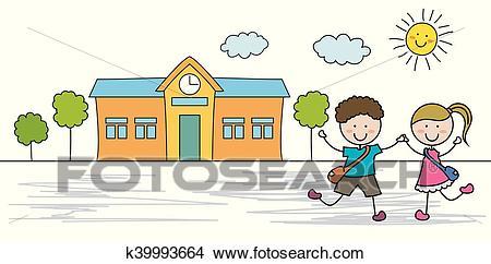 Kids go to school Clipart.