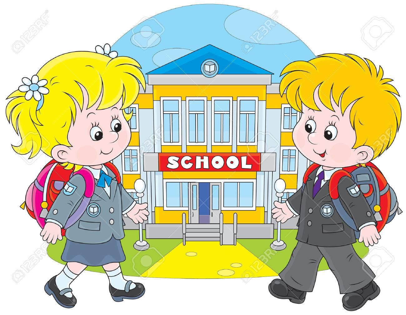 Schoolgirl and schoolboy walking to school.